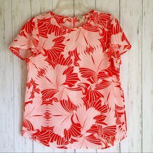 J. CREW Orange Floral Petal Sleeve BLOUSE 4